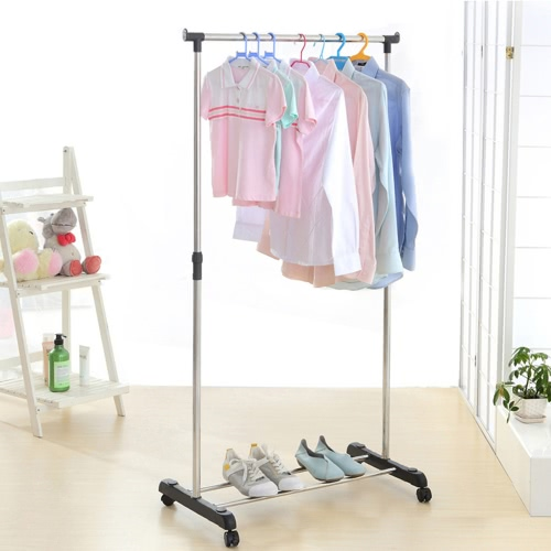 2pcs iKayaa Metal Adjustable Coat Clothes Garment Rolling Hanging Rack