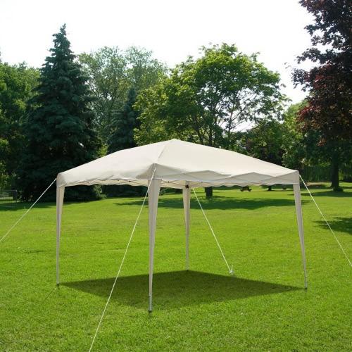 iKayaa 3 * 3 * 2.6M pieghevole esterno del giardino Gazebo del baldacchino Pop Up Wedding Party tenda da campeggio Marquee Padiglione 160g poliestere w / Carry Bag