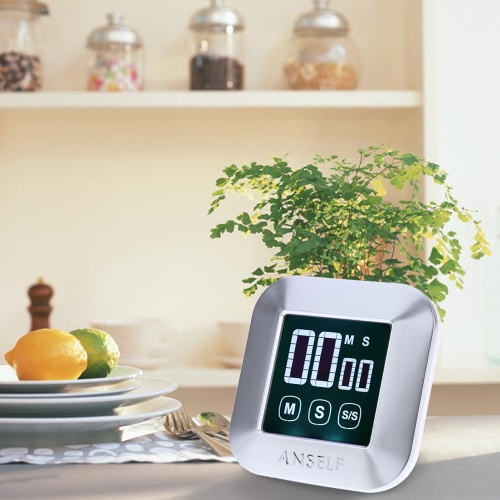 Anself LCD Digital Touch Screen Kochen Küchen-Timer Countdown Count Up Wecker