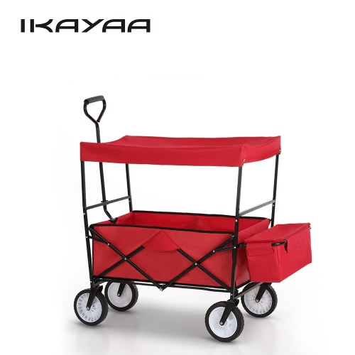 IKayaa Folding Utility Wagon W/ Canopy Collapsible Outdoor Camping Shopping  Beach Wagon Sports Garden Cart