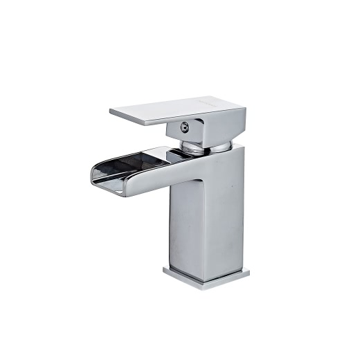 Homgeek Modern Elegant High Quality Deck Mount Chromed Single Handle Solid Brass Bathroom Sink Waterfall Faucet Cold and Hot Mixer Basin Tap Home Hotel
