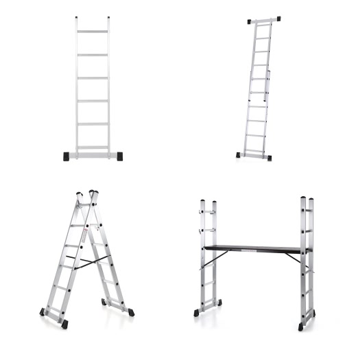 iKayaa 4 en 1 Multi Purpose Step Ladder Echafaudage Aluminium Extension DIY Work Platform Tower Scaffold 330LB / 150KG Capacité EN131 Approuvé