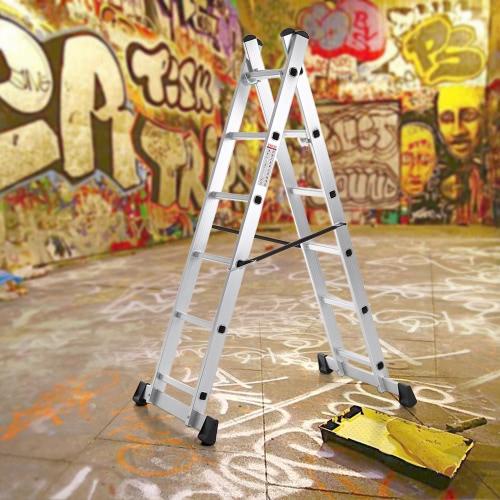 iKayaa 4 in 1 DIY Alunminum Folding Step Ladder Scaffolding