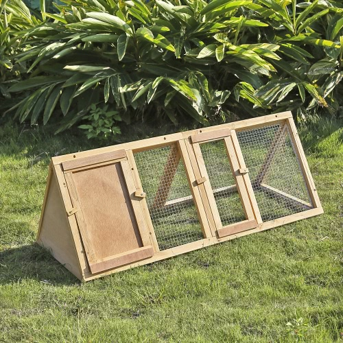 iKayaa Multi-use Outdoor Triangle Wooden Rabbit Hutch Guinea Pig Ferret Chicken Coop House Run Pet Cages