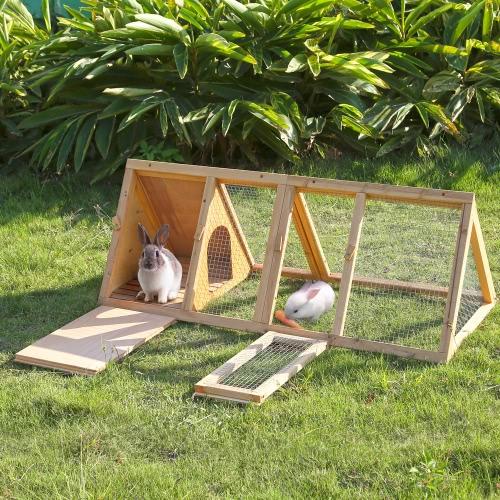 Gabbie iKayaa Multi-uso Triangolo esterna coniglio in legno Hutch Guinea Pig Ferret Chicken Coop Casa Run Pet