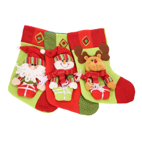 festnight 3pcs large christmas stockings lovely santa claus snowman reindeer socks kids gift bags christmas tree - Large Christmas Stockings