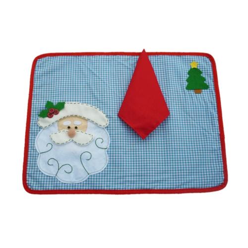Festnight Father Christmas Dining Mat High Quality Santa Clause Table Mat Soft Double Layer Place Mat for Christmas with Napkin