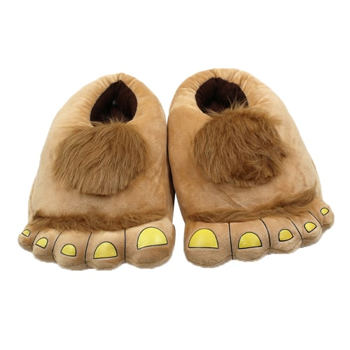 Indoor Unisex Novelty Plush Cotton Home Slippers Winter Warm Lovely Big Cartoon Feet Soft Household Thermal Shoes 29cm/11.4in