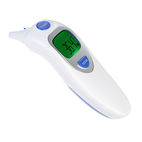 Anself LCD Digital IR Infrared Dual Mode Forehead and Ear Thermometer Baby Adult Body Temperature Measurement with Alarm Function