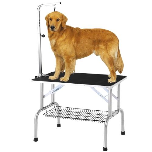 """iKayaa - Mesa plegable para el aseo de perros para mascotas, 32 """", con brazo y percha, y estante, capacidad resistente de 150 kg"""