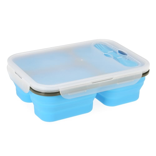 Anself 2017 Nueva silicona plegable Lunchbox portátil plegable caja de almuerzo de comidas caja con tapa de microondas Box 600 + 400ml Eco-Friendly retráctil de picnic envase de alimento Frutas Bowl,