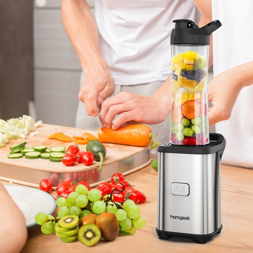 Homgeek Mini 350W Fruit and Vegetable Single Serve Extractor Personal Smoothie Blender Detachable Food Processor Vegetable Fruits
