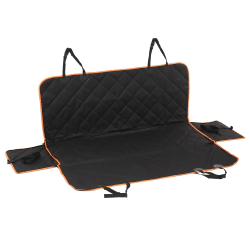 Anself Luxury Hammock Pet Car Seat Cover Waterproof Non-skid Dog Cat Seat Covers with Orange Brim and 2 Side Flaps for Cars Trucks and SUV