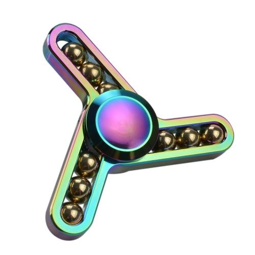 Новый стиль Металлический цинковый сплав EDC Hand Fidget Три пальца Spinner Гаджеты Фокус Tool Настольная игрушка Спиновый виджет для ADD ADHD Дети Взрослые Снимают стресс Цвет радуги