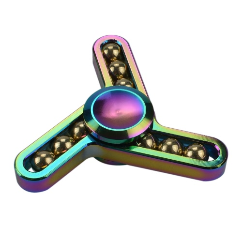 New Style Metal Zinc Alloy EDC Hand Fidget Tri Finger Spinner Gadgets Focus Tool Desk Toy Spin Widget for ADD ADHD Children Adults Relieve Stress Anxiety Rainbow Color