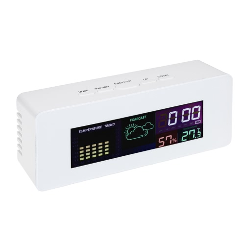 Thermomètre intérieur à cristaux liquides multi fonctions multifonction Hygromètre Horloge avec alarme Fonction Snooze Calendrier Semaine Affichage