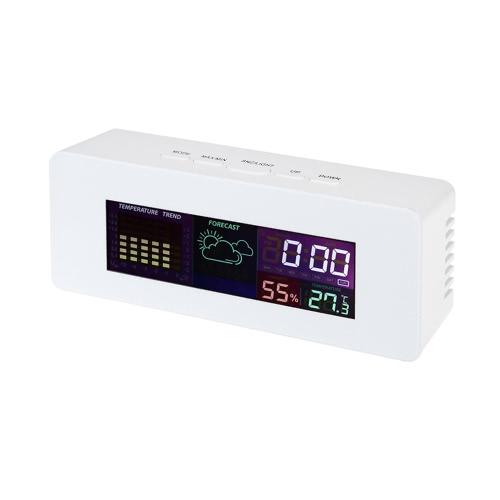 Multi-functional Colorful LCD Indoor Thermometer Hygrometer Clock with Alarm Snooze Function Calendar Week Display