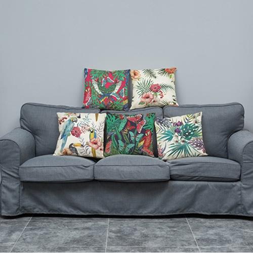 Модные Элегантные Красочные Высококачественные Африканские Тропические Растения Листья Цветы Льняные Напечатанные Квадратные Броши Подушки Обложки Подушки Подушки Декоративные для Римского Офисного Сидения