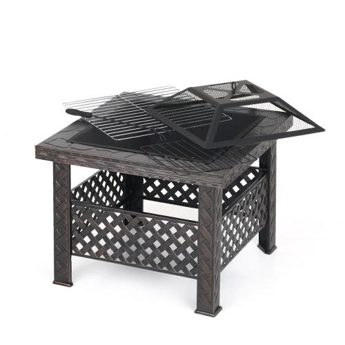 Patio de metal iKayaa, patio trasero, brasero, estufa de fuego, patio, estufa