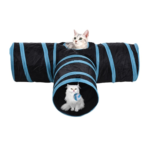 Collapsible 3 Way Pets Cat Tunnel Tube for Kittens Puppies Rabbits Guinea Pigs Pet Toys with Ball Crinkle Fabric