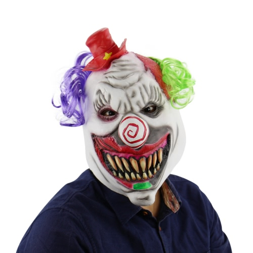 Latex Full Head Scary Toothy Clown Maske mit Hut und Haar für Halloween Masquerade Kostüm