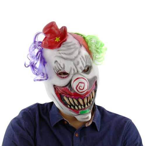 Lateksowy Stały Głowa Toothy Clown Mask