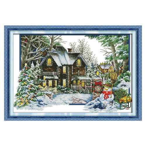 Decdeal DIY Handmade Needlework Cross Stitch Set 68 * 48cm Broderie Kit 14CT Printed Cross-Stitching Home Decoration