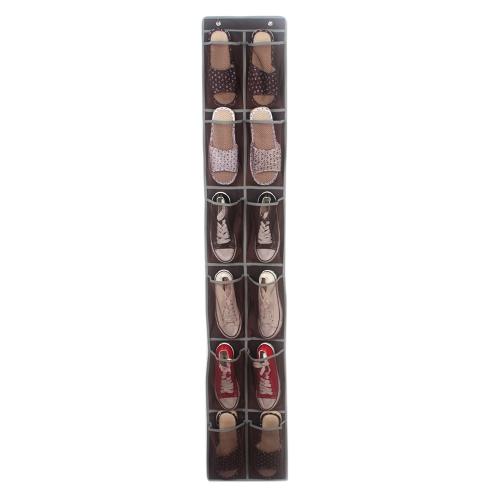 Над дверью настенные 12 сетчатых карманов Держатель для обуви Аксессуары Туалетные принадлежности для хранения Сумка для хранения сумка с 2 дверными крючками - кофе