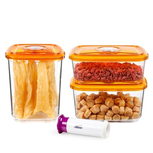 sinome 3pcs / set Vacuum Sealed Pojemnik do przechowywania żywności z ręcznymi pokrywami pompy próżniowej Sealed Dry Food Storage Container Pojemnik do przechowywania ziarna Przezroczyste opakowanie do przechowywania żywności 1300ml + 2000ml + 3000ml