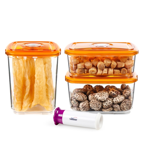 sinome 3pcs/set Vacuum Sealed Food Storage Container with Handheld Vacuum Pump Lids Sealed Dry Food Storage Container Grain Storage Tank Transparent Food Storage Box 1300ml+2000ml+3000ml