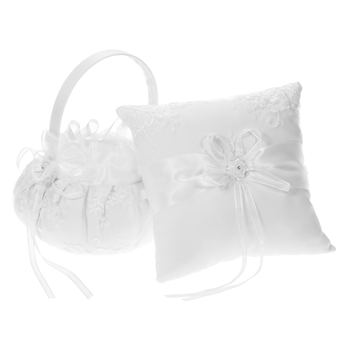 7 * 7 inches Ivory White Satin Ring Bearer Pillow and Wedding Flower Girl Basket Set