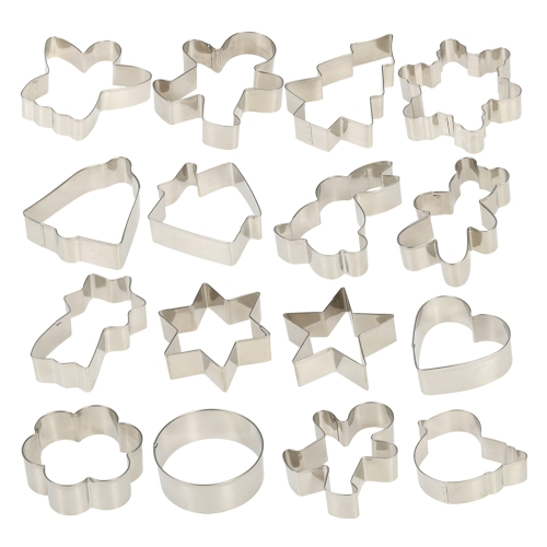 Esonmus 16pcs/set Multifunctional Christmas Stainless Steel Cookie Cutters Heart Gingerbread Man Snowflake Star Shaped DIY Fondant Cake Decoration Molds Fruit Chocolate Cutters