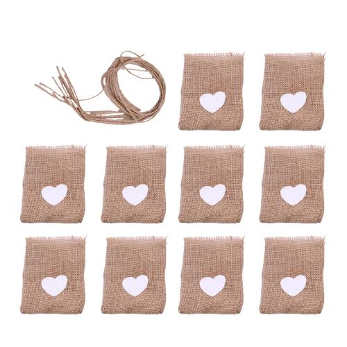 10szt naturalny styl len drukarski worek torebka standardowa kształt serca słodkie wesele torba na cukierki