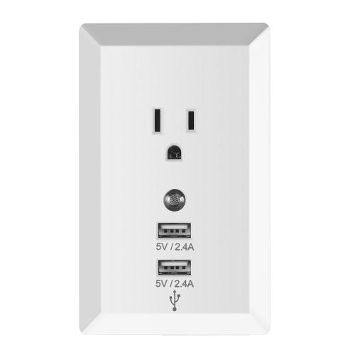 Soquete de tomada de casa sem fio com plugue de adaptador de luz noturna com interface USB