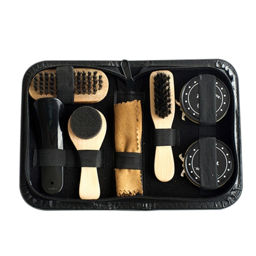 8PCS Shoe Shine Care Kit Schwarz & Transparent Polnisch Pinsel Set