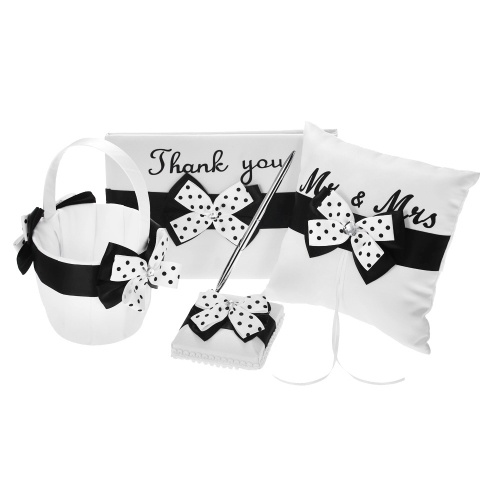 4pcs/set Wedding Supplies Satin Flower Girl Basket + Ring Bearer Pillow + Guest Book + Pen Holder Set with White Black Bowknot Decorated