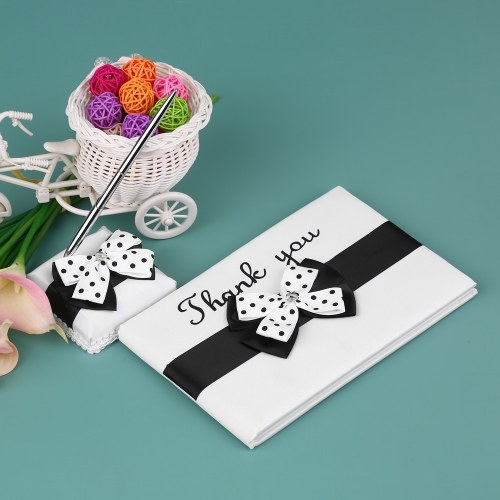 4pcs/set Wedding Supplies Satin Flower Girl Basket + Ring Bearer Pillow + Guest Book + Pen Holder Set with White Black Bowknot Decorated