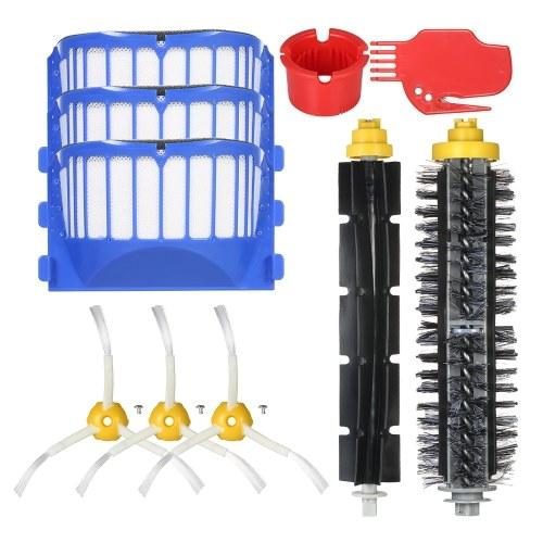 Комплект из 10 комплектов запасных частей для iRobot Roomba 600 Series 690 691 694 650 651 664 615 601 630 Пылесос - Щетка щетки + Гибкая кисть + боковые кисти + фильтр + инструмент для очистки