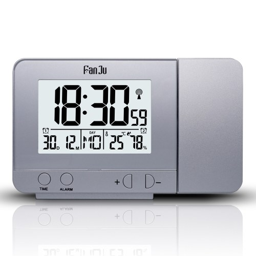FanJu Projection Alarm Clock Вращающиеся цифровые проекционные часы Многофункциональные ЖК-часы Цифровая дата Функция отсрочки Подсветка Вращающиеся часы проектора фото