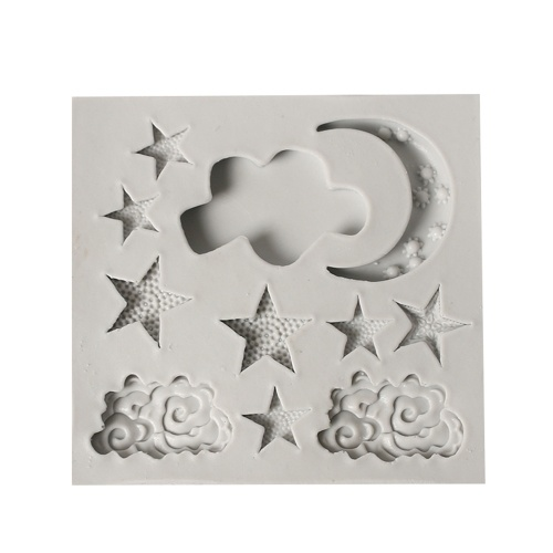 1 Pcs Cake Molds Moon Stars Clouds Silicone Mold for Fondant Decorating Chocolate Cookie Soap Mould Baking Pastry Tools Random Color