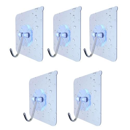 5Pcs Бесшовные прозрачные прочные клейкие дверные крючки Многоразовые наклейки для тяжелых условий работы для подвесной кухни