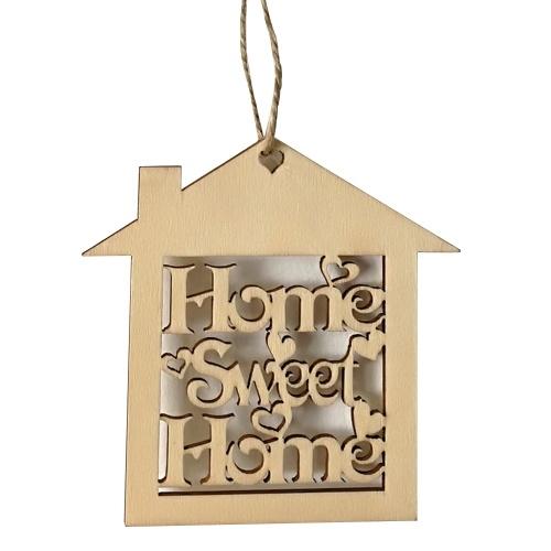 10 шт Декоративные деревянные стены Висячие дома Сладкий знак Плакет Дом Форма вырезать Craft Новоселье подарок