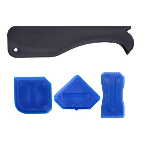 4Pcs / Комплект герметика для шпунтовых конусов Комплект для герметизации конуса для сушки силиконового затирочного крепежа Стеклянный скребок для ванной комнаты Кухонный номер и рамы Герметичные уплотнения