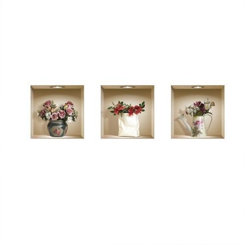 Набор из 3 волшебных 3D-ваз-цветов Съемные наклейки с наклейками на стенах DIY для гостиной Спальня Диван Домашний декор