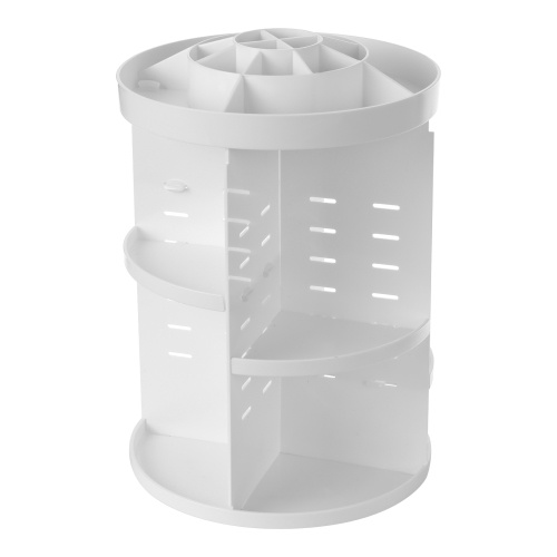 360 Degree Rotation and Adjustable Multi-Functional Cosmetic Storage Box Circle with Tray White