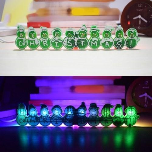 Diy Full Color LED piscando boneco de neve de Natal Music Box Kit