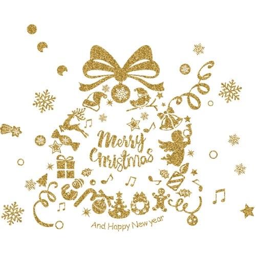 Зимний рождественский день Золотой сверкающий стикер стены фото