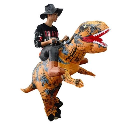 Adultos que montam o vestido de fantasia inflável inflável da explosão do suporte do traje do dinossauro