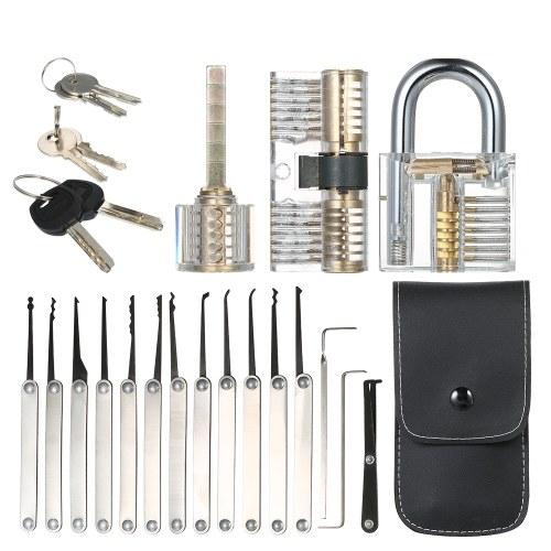 15pcs Lock Picking Set Kit Tool avec trois transparents pratique formation cadenas serrure pour serrurier débutants et professionnels