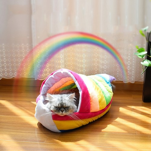 Beautiful Rainbow Boat Cat Bed Nest Soft Short Plush Kitten House